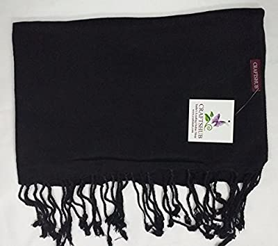 Craftshub Casual Soft Luxurious Solid Viscose Pashmina All Season Stole Scarf for Women and Men - Black
