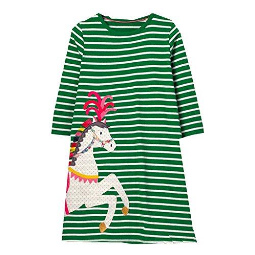 Mooler Mädchen Rundhalsausschnitt Langarm Casual Dress Cartoon Pferd Applique T-Shirt Kleid , Grün , 18-24 Monate