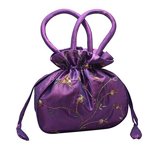 jilesm Retro Chinesischer Stil Mini bestickte Seide, Handtasche (Handtasche Seide)