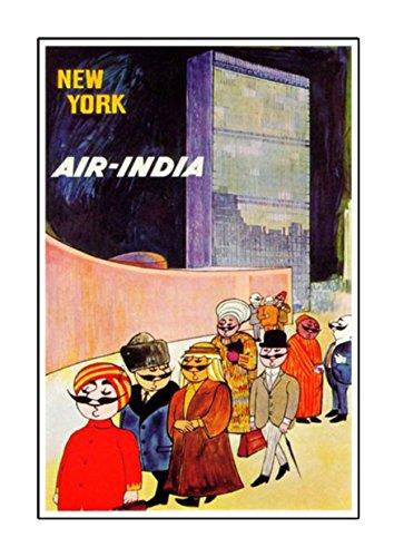 Air Indien-New York, A4Laminiertes Poster, Vintage, Foto, Old Airways, Airways Foto, Grafik, Bild, Airline, Reisen, schwarz und weiß, Foto, alt, retro, Druck, Oldschool,