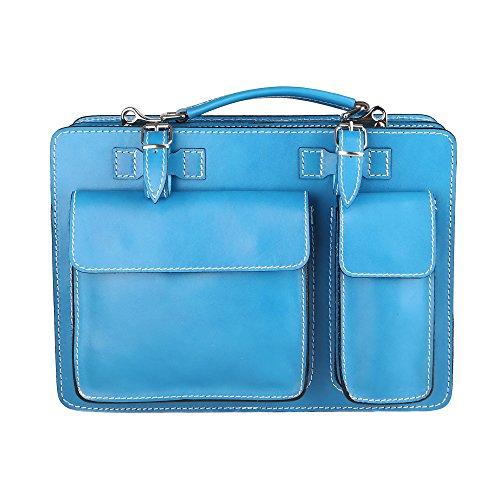 Chicca Borse Unisex Aktentasche Organizer Handtasche Mittlere Maß mit Schultergurt aus echtem Leder Made in Italy 34x24x12 Cm Hellblau