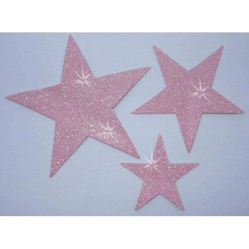 Stars Dance Kostüme (Stoff Glitzer 3Star zum Aufbügeln light pink Hotfix Dance Kostüm T-Shirt Kleid Transfer)