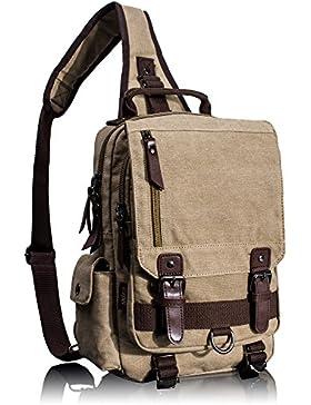 Leaper Vintage Canvas Rucksack Handtasche Schultasche für Outdoor Außflug Sport