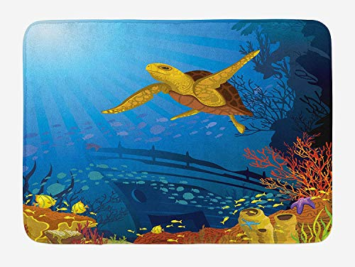 CHKWYN Ocean Bath Mat, Colored Coral Reef with Silhouette School of Fish and Turtle Underwater Art, Plush Bathroom Decor Mat with Non Slip Backing, 23.6 W X 15.7 W Inches, Yellow Orange Navy