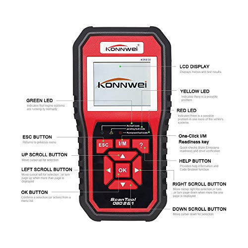 Uzinb Auto Diagnostic Code Vehicle Engine System Scanners Check Light Code Reader Diagnostic Tool for KONNWEI KW850