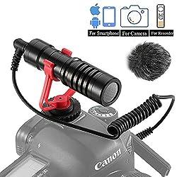 Dazzne Video Mikrofon kompakt Kamera Camcorders Mic Compatible für Sony/Canon/Nikon/Pentax DSLR,Mac Tablet iPhone/Android Smartphones, Recording YouTube/Interview