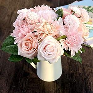 OQAJFQJA 1 Pieza De Mezcla Y Partido Belleza Novia Mano Flor Decoración De La Boda Dalia Filigrana Artificial Rosa Falso…