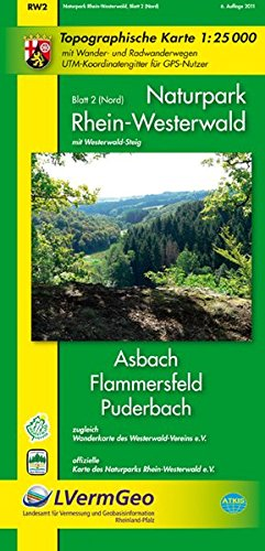 Naturpark Rhein-Westerwald /Asbach, Flammersfeld, Puderbach (WR): Naturparkkarte 1:25000 mit Wander- und Radwanderwegen sowie dem Verlauf des ... Rheinland-Pfalz 1:15000 /1:25000)