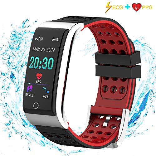 ISWIM Fitness Armband ECG&PPG mit Pulsmesser Wasserdicht IP67 Fitness Tracker Aktivitätstracker (Rot)