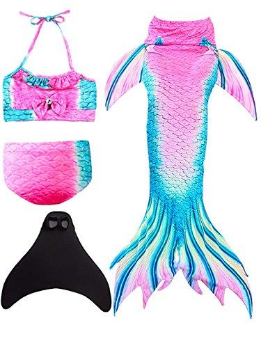 ShePretty Mädchen Meerjungfrauenschwanz Bikini Set Zum Schwimmen mit Meerjungfrau Flosse Badeanzüge Prinzessin Cosplay ()