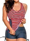 FITTOO Damen Figurformender Zweiteiliger Badeanzug Bügelloser Bauchweg Tankini mit Badeshorts, Rote Streifen, XX-Large