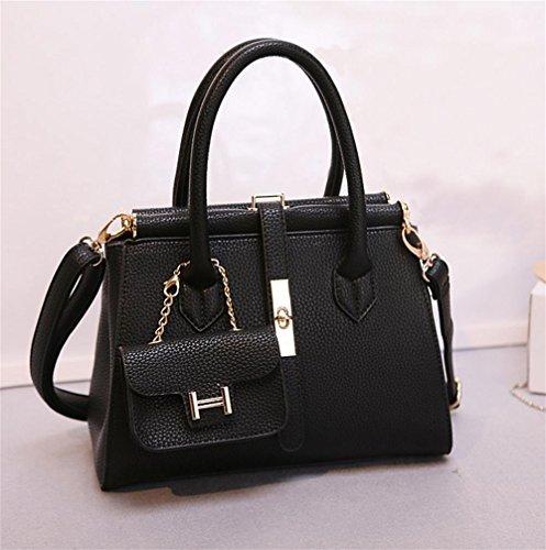 YANX Fashion PU signora Blocco borsa delle signore Borsa a tracolla Tote (30 * 34 * 13cm) , black