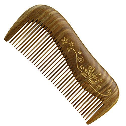 Jiao Mujiao Feoya Holzkamm Damen Frisierkamm gebogen Drucken Dicke Zähne Haarkamm aus Holz Antistatische Sandelholz Hölzerne Haar Massage Kamm mit Tasche Haarpflege Bartkamm