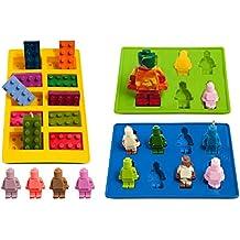 bessmate Juego de 3Lego Ice Cube bandejas y moldes de silicona para robot de caramelo y bloques de construcción Tema