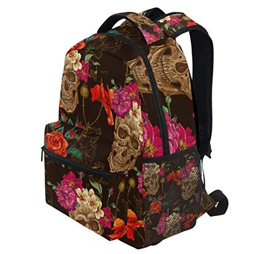 ädel Blumen Retro Blumenmalerei Halloween Rucksäcke Bookbags Daypack Travel School College Tasche für Frauen Mädchen Männer Jungen ()