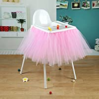 Vlovelife 40'' x 14'' Dark Pink Tulle Tutu Skirt For High Chair Decor For 1st Birthday Party Baby Shower Decorations Favor