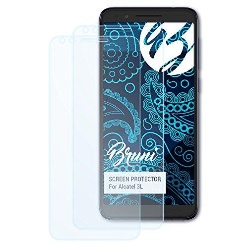 Bruni Schutzfolie für Alcatel 3L Folie, glasklare Bildschirmschutzfolie (2X)