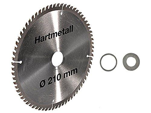 Kreissägeblatt Hartmetall 210 x 30 mm 72 Z + 2 Reduzierringe auf 25,4 und 16 mm