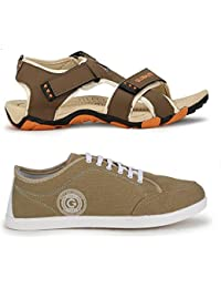Globalite Men`s Casual Shoe (Stumble-Beige White) & Casual Sandal (Muskeeter-Beige Orange) GPD0433_131