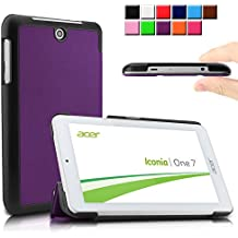 Infiland Acer Iconia ONE 7 B1-770 Funda Case-Ultra Delgada Tri-Fold Smart Case Cover PU Cuero Smart Cascara con Soporte para SAcer Iconia One 7 B1-770 - Tablet 7'' IPS (7 pulgadas) Tablet-PC(P¨²rpura)