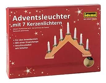 Idena 8582068 – Adventsbogen mit 7 Kerzenlichtern, natur, ca. 30 x 40 cm