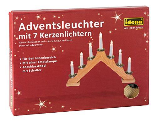 Idena 8582068 - Adventsleuchter aus naturfarbenem Holz mit 7 Kerzenlichtern, inklusive Ersatzlampe, Anschlusskabel mit Schalter, ca. 40 x 30 cm -