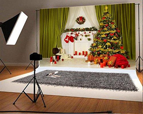 YongFoto 1,5x1m Foto Hintergrund Weihnachten Baum Kamin Strumpf Kranz Grüner Vorhang Geschenkbox Kerzen Innenraum Frohes Jahr Fotografie Hintergrund Fotoshooting Portrait Party Kinder Fotostudio