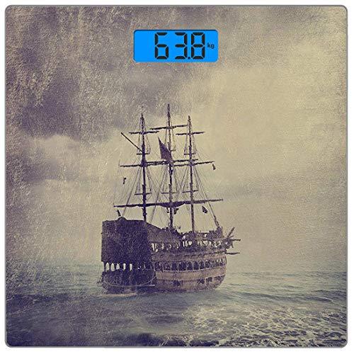 Digitale Präzisionswaage für das Körpergewicht Platz Nautisch Ultra dünne ausgeglichenes Glas-Badezimmerwaage-genaue Gewichts-Maße,Altes Piratenschiff im Meer Historische Legenden Kreuzfahrt Retro Voy