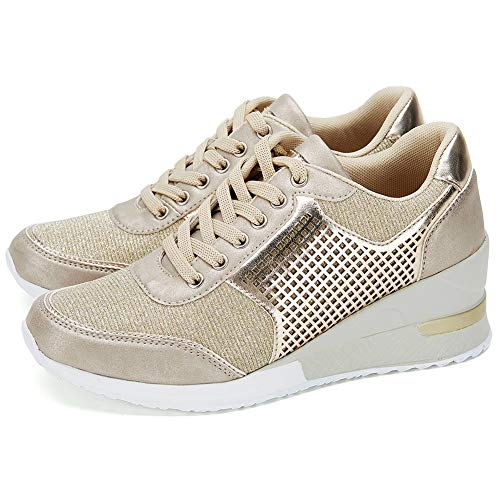 Damen Gold Keil Wedge Sneaker - Mode Damen Trainers, Wahl für Walking und Tägliche Tragen, Bequem Damen Keilabsatz Schuhe, Geeignet für Alle Jahreszeiten SM1-GOLD-39
