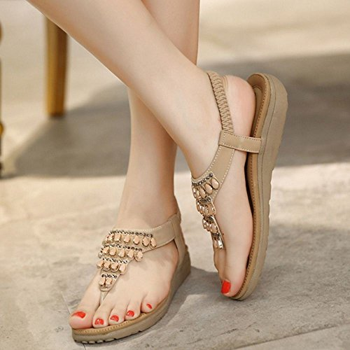 COOLCEPT Donne Moda Basse Sandals Beaded Scarpe da Estate 1457Apricot