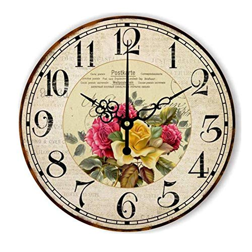 LZCHA Funkgesteuerte Wanduhr Blumen Vintage Holz Uhr Studie
