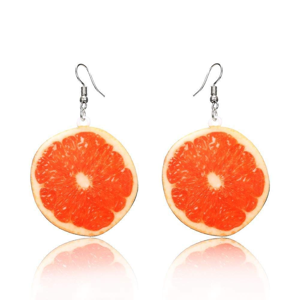Hoveey Summer Earring Grapefruit Pendant Earrings Women Girl Jewelry Gift for Christmas Thanksgiving Birthday(Orange)