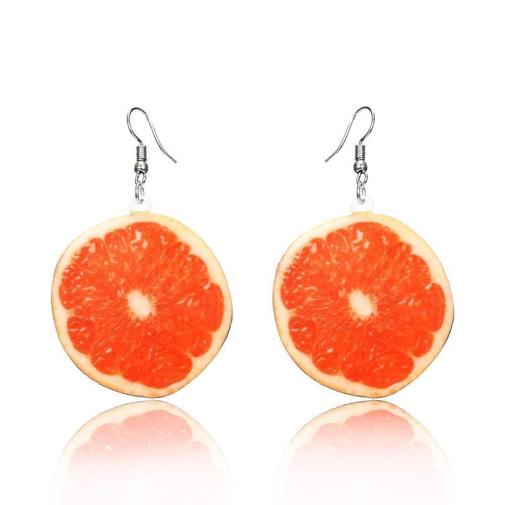 Hoveey Summer Earring Grapefruit Pendant Earrings Women Girl Jewelry Gift for Christmas Thanksgiving Birthday(Orange)