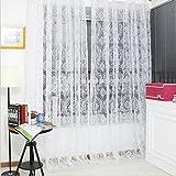 Vintage flocado floral de la gasa de la puerta ventana del balcón pantalla del panel de cortinas-White