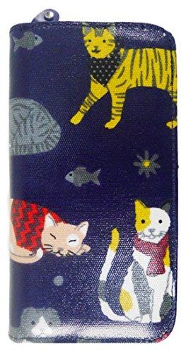Kukubird Vari Gatti Unicorni Animali Ancora Ombrello Floreale Pattern Large Signore Borsa Frizione Portafoglio Mixed Cat Dark Blue