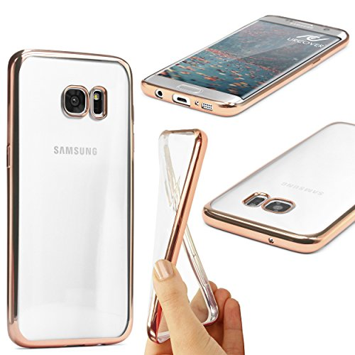 Urcover® Samsung Galaxy S7 Edge Handyhülle Rose Gold | TPU Silikon Schutzhülle durchsichtig | Spiegelrand Hülle Transparent | Slim Cover Tasche | dünne Schale | Back-Case flexibel | Smartphone Zubehör Schutzhülle Silikon Cover