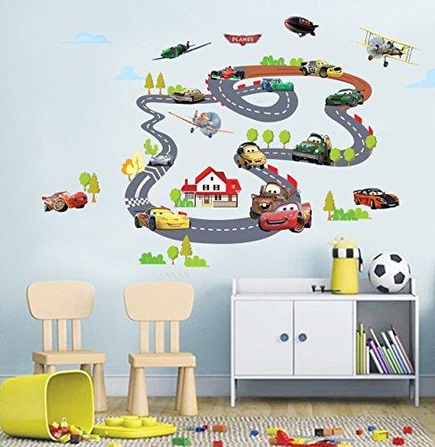 Hongrun Cartoon wand Aufkleber Car Race Track junge Kinder bereits im Kindergarten Zentrum dekorative herausnehmbare PVC Poster 140 * 90 cm unterrichtet werden (Kinder-wand-sticker-cars)