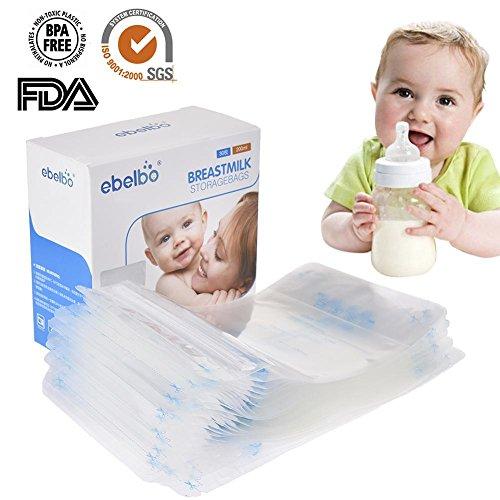 Sac de stockage de lait maternel 200ML de qualité alimentaire infantile pochette de sécurité double bande d'étanchéité étanche bébé bouteille de stockage de lait peut être réfrigéré (30Pcs)