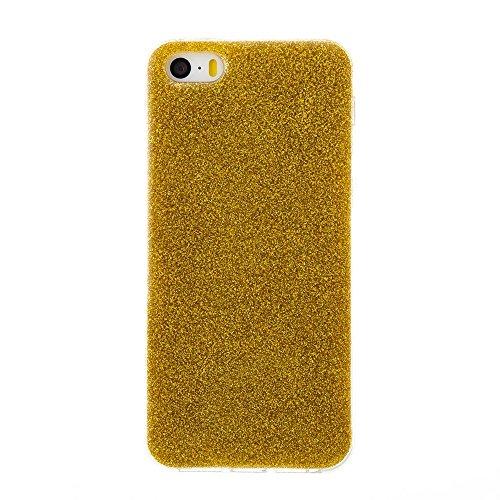 EKINHUI Case Cover Weiches flexibles Silikon TPU Gel-Abdeckungs-Fall [Anti-verkratzen] Glänzender Glitter 360 ° volle Abdeckung Rückseitige Abdeckung [Shockproof] für iPhone 5s u. SE ( Color : Silver  Gold
