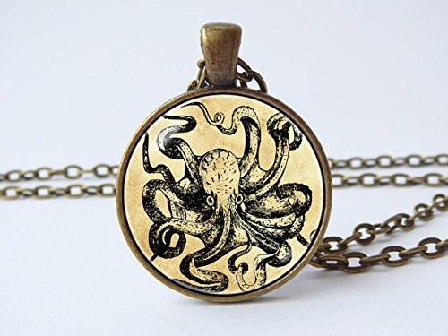 topus Jewelry Anhänger Vintage Art Octopus Anhänger Sea Animal Antik Octopus OCTOPUS Rohr Sailor Schmuck Ocean Schmuck ()