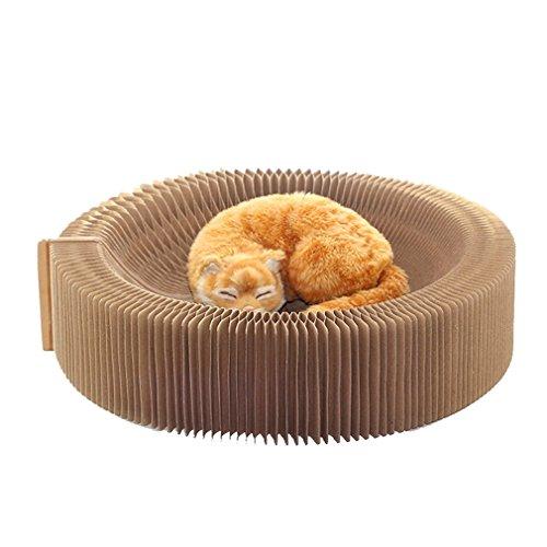 Yuncai Katze Lounge aus Pappe Faltbare Wellpappe Katzen Bett Katzenkratzbrett Als Bild
