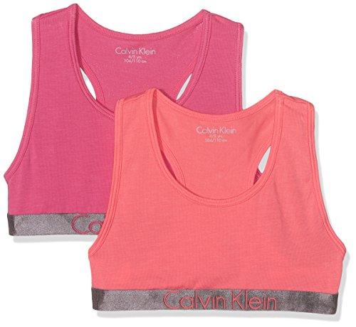 Calvin Klein Mädchen Bustier 2 Pack Bralette, Mehrfarbig (1 Calypso Coral/ 1 Lilac Rose 608), 140...