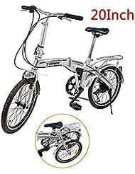 "Ridgeyard 20"" 6 Speed Silver Folding Foldable Adjustable City Bike Bicycles School Sports Shimano"