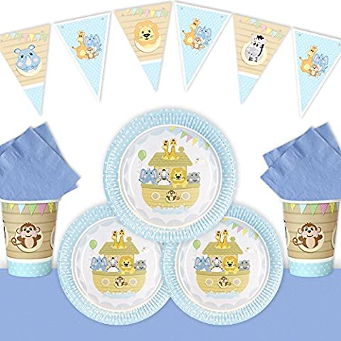 ALL ABOARD BL / Noahs Ark / Christening / Birthday ESSENTIALS Party Pack for 16 GUESTS BLUE