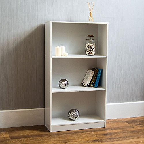 Home Discount Cambridge 3 Tier Medium Bookcase, White Wooden Shelving Display Storage Unit Office Living Room Furniture