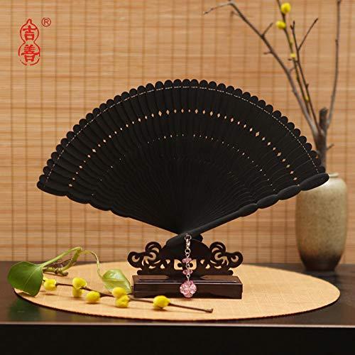 plzxy Chinesischen Stil voller Bambus Fan Carving Hohlfächer Alten Stil Damen Faltfächer Handwerk Fan Geschenk Fan@Promi Fan schwarz (16CM) (Schwarz Promi Kostüm)