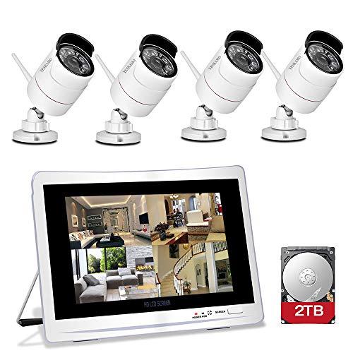YESKAMO kit de Vigilancia con 4 Cámaras Wifi 1080p 8 Canales y Pantalla de  12