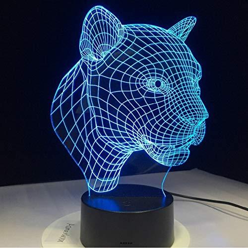 Hysxm Cartoon Leopard Tier 3D Schreibtisch Tischlampe 7 Farbe Nachtlicht Touch Lampe Kinder Kinder Familie Halloween Urlaub Schule Geschenk