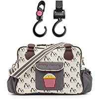 Yummy Mummy Stylish Nursery Changing Bag - Colour Penguin Love - Includes Travel Changing Mat Cupcake Design Plus 1 Pack Of Happy Mummy Hook n Stroll Pram Clips