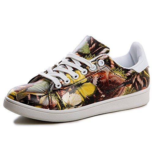 topschuhe24 576Femme Sneaker Chaussures de sport Jaune